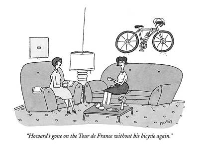 Tours Drawing - Howard's Gone On The Tour De France by Peter C. Vey