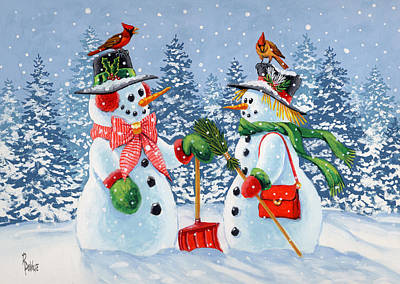 Snowwoman Painting - Howdy Neighbour by Richard De Wolfe