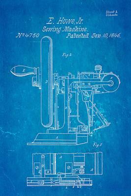 Photograph - Howe Sewing Machine Patent Art 1846 Blueprint by Ian Monk
