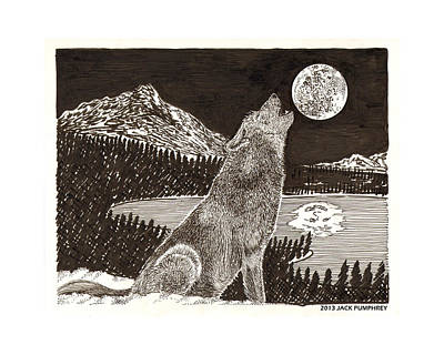 Prayer Drawing - Howling Coyote Full Moon Ho0wling by Jack Pumphrey