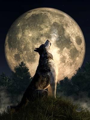 Animals Digital Art - Howling Wolf by Daniel Eskridge