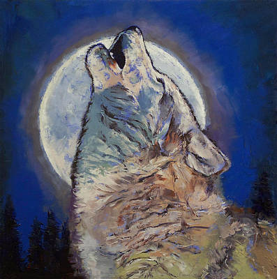 Full Moon Painting - Howling Wolf by Michael Creese
