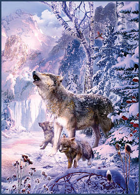 Wolves Drawing - Howling Wolves by Jan Patrik Krasny