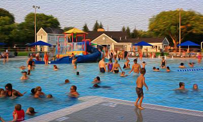 Digital Art - Hoyt Pool Evening Swim by Geoff Strehlow
