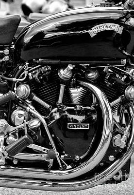 Photograph - Hrd Vincent Motorcycle Monochrome by Tim Gainey