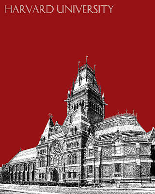 Harvard Wall Art - Digital Art - Harvard University - Memorial Hall - Dark Red by DB Artist