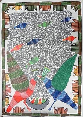 Gond Art Gallery Painting - Hu 41 by Heeraman Urveti