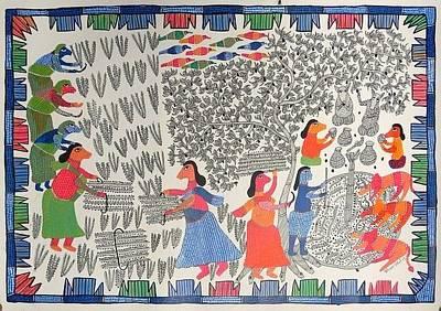 Gond Art Gallery Painting - Hu 42 by Heeraman Urveti
