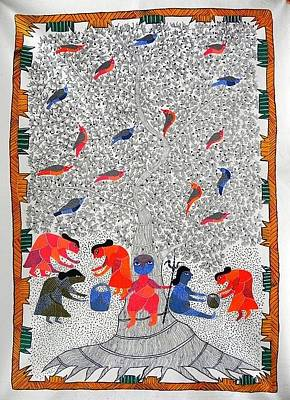 Gond Art Painting - Hu 45 by Heeraman Urveti
