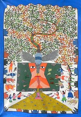 Gond Tribal Art Painting - Hu 47 by Heeraman Urveti