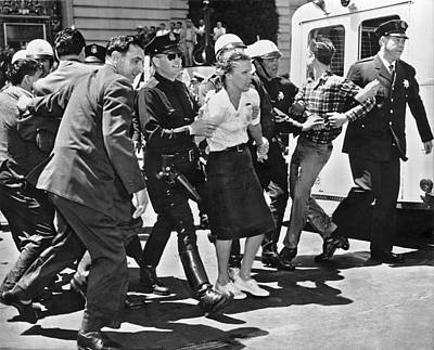 Huac Protesters Arrested In Sf Art Print by Underwood Archives