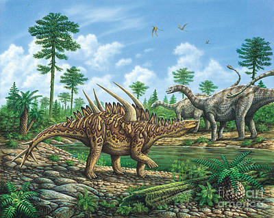 Huayangosaurus And Shunosaurus Art Print by Phil Wilson