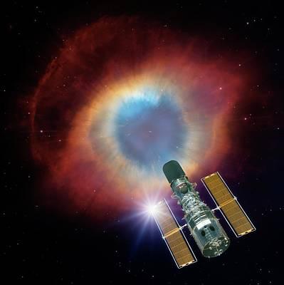 Hubble And Helix Nebula Art Print