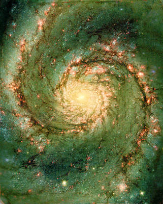 The Void Above Photograph - Hubble - The Heart Of The Whirlpool Galaxy by Paulette B Wright
