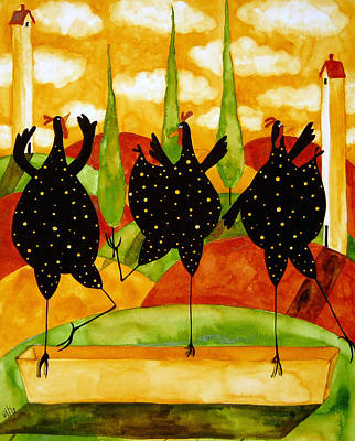 Tuscan Hills Painting - Hubbs Art Folk Prints Country Farm Funny Fowls Chickens Chicken Hen Ballet  by Debi Hubbs
