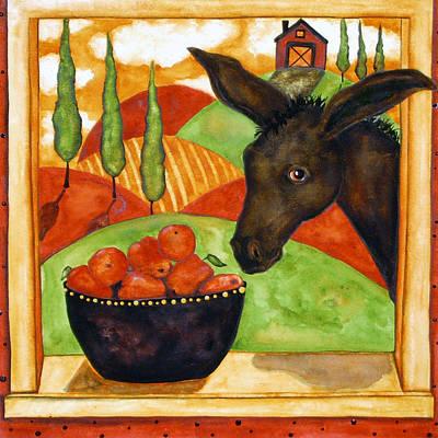 Hubbs Art Folk Prints Debi Hubbs Whimsical Italian Tuscan Donkey Kitchen Apple Print by Debi Hubbs
