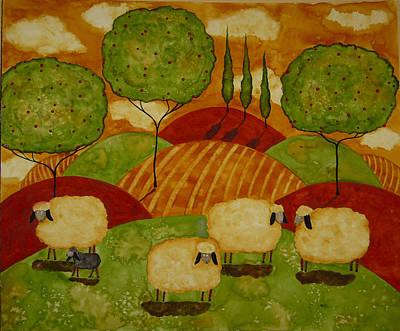 Tuscan Sunset Painting - Sheepies by Debi Hubbs