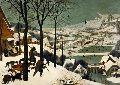 Dogs In Snow Painting - Hunters On The Snow by Pieter Bruegel the Elder