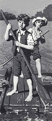 Tom Boy Drawing - Huckleberry Finn And Tom Sawyer  by English School
