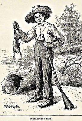 Huckleberry Finn Illustration Drawing Print Art Print by