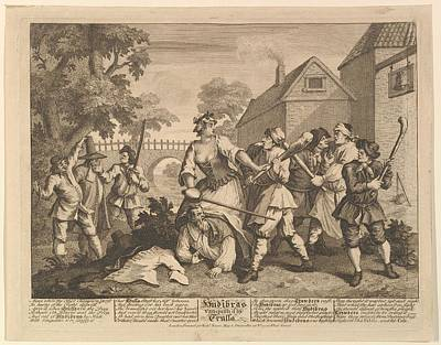 Hudibras Vanquished By Trulla Twelve Art Print by William Hogarth