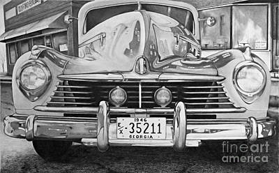 Headlight Drawing - Hudson Dreams In Black And White by David Neace