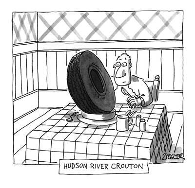 Hudson River Drawing - Hudson River Crouton by Jack Ziegler