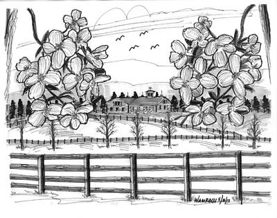 Farm Scenes Drawing - Hudson Valley Apple Blossoms by Richard Wambach