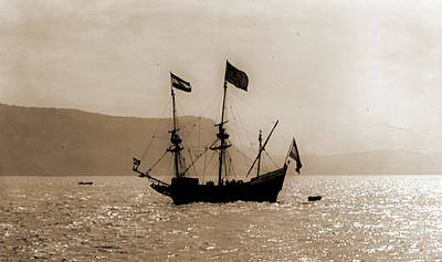 Hudson River Drawing - Hudsons Half Moon On Hudson, Half Moon Ship  Replica by Litz Collection