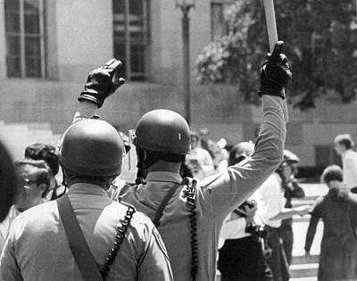 Police Officer Photograph - Huey Newton Rally In Sf by Underwood Archives Thornton