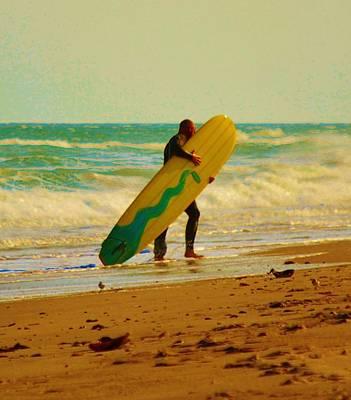 Photograph - Hug Your Longboard - Surfing On Assateague Island National Seashore In Maryland. by William Bartholomew