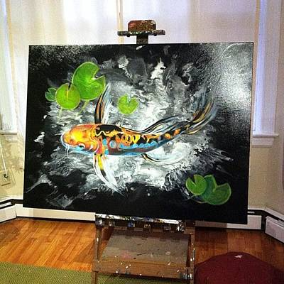 Koi Fish Photograph - Huge 48x36 Koi Fish Painting On by Ocean Clark