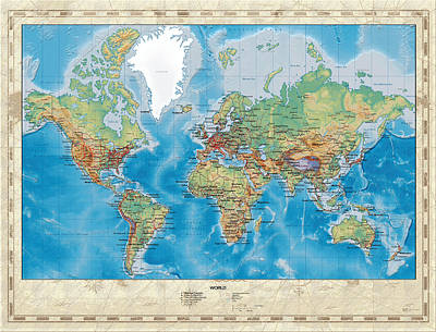 Relief Map Digital Art - Huge Hi Res Mercator Projection Physical And Political Relief World Map by Serge Averbukh