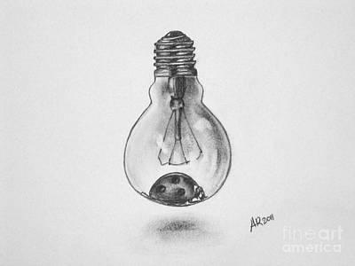 Lightbulb Drawing - Ladybulb by A R