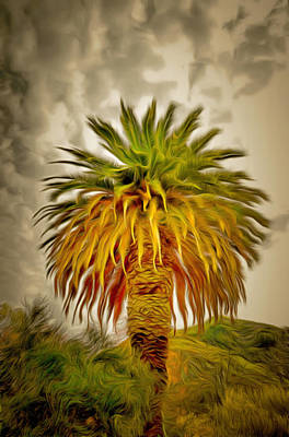 Cloudy Day Painting - Huge Palm Dark Skies by Barbara Snyder
