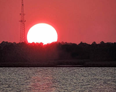 Photograph - Huge Sun Setting by Cathy Jourdan