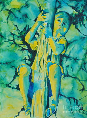Painting - Hugging A Tree by Jaswant Khalsa