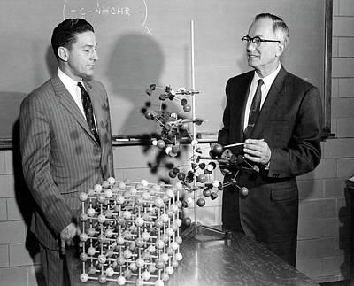 Polymer Photograph - Huggins Demonstrating His Theory by Emilio Segre Visual Archives/american Institute Of Physics