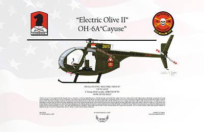 Oh-6a Digital Art - Hughes Oh-6a Cayuse Electric Olive II by Arthur Eggers