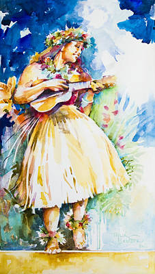 Hawaii Hula Dancer Painting - Hula 'auana by Penny Taylor-Beardow