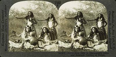 Ukelele Photograph - Hula Dancers, C1905 by Granger