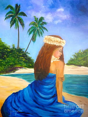 Art Print featuring the painting Hula Girl On The Beach by Jenny Lee