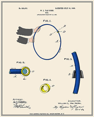 Hula Hoop Patent - Colour Art Print by Finlay McNevin