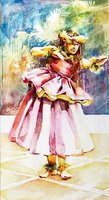 Hula Kahiko Wahine Art Print by Penny Taylor-Beardow