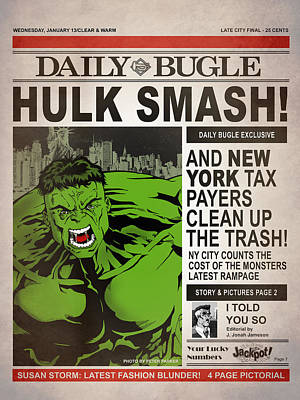 Hulk Smash - Daily Bugle Art Print by Mark Rogan