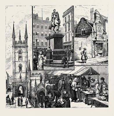 Old Home Place Drawing - Hull 1. St. Marys Church 2. Statue Of King William by English School