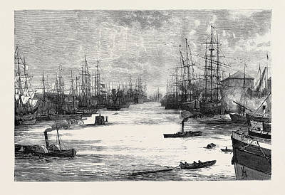 Dock Drawing - Hull Albert Dock by English School