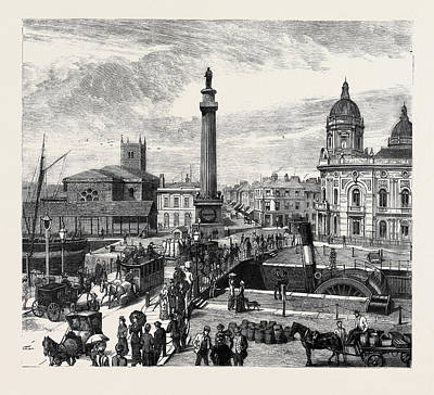 Hull Whitefriargate Bridge And Wilberforce Monument Art Print