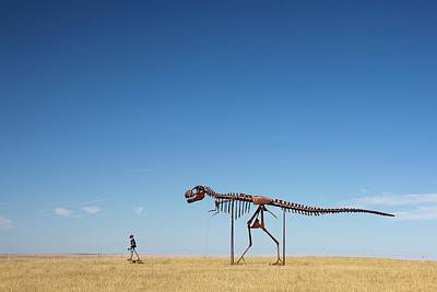 Rex Photograph - Human And T. Rex Skeletons by Jim West