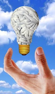 Human Brain In Shape Of Lightbulb Art Print by Victor De Schwanberg